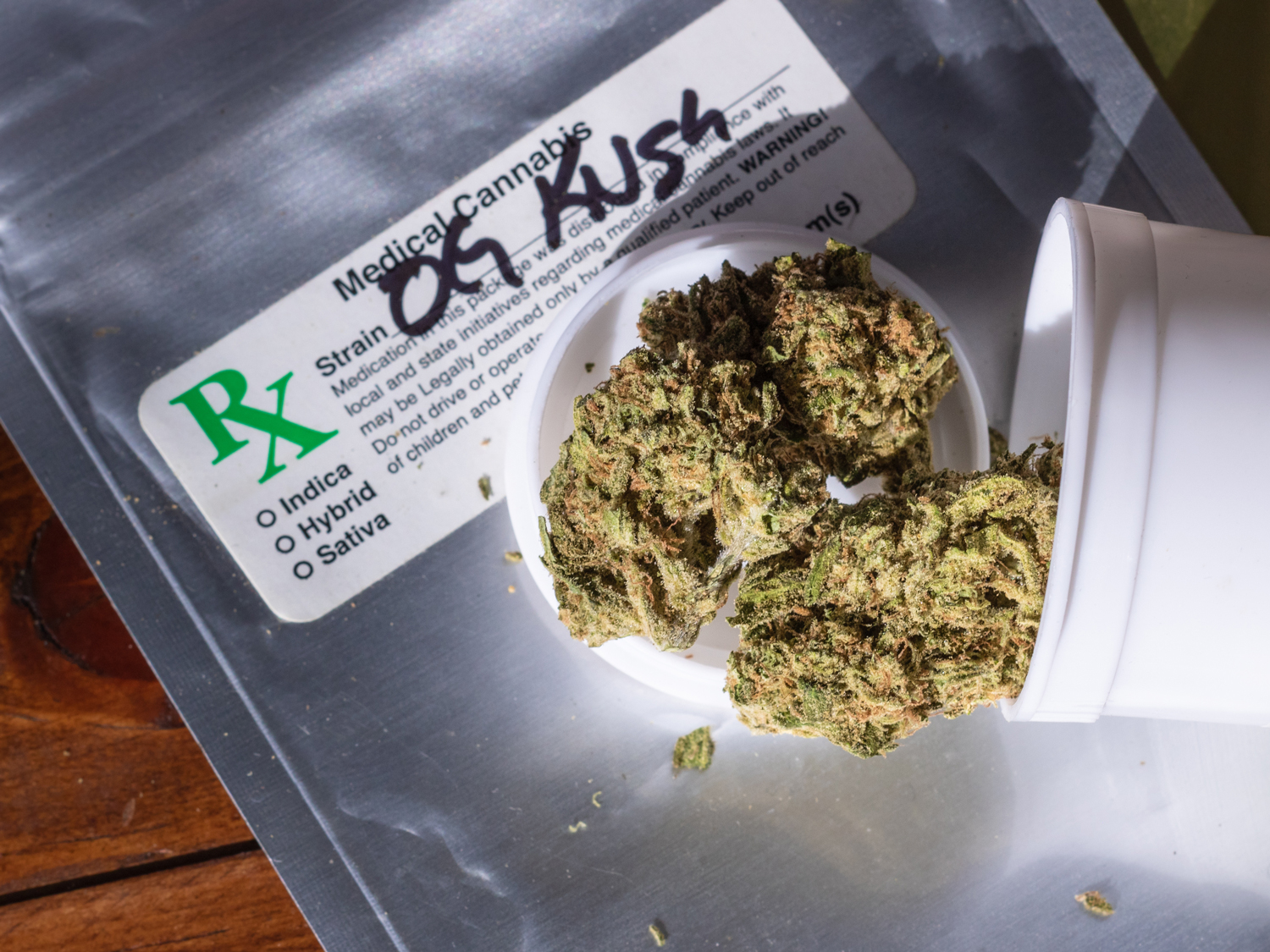 """""""OG Kush"""" cannabis flower purchased from a legal dispensary with labels Indica, Sativa, and Hybrid on the package."""